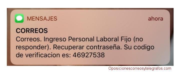 numero verificacion recuperar contraseña plataforma solicitudes oposiciones correos