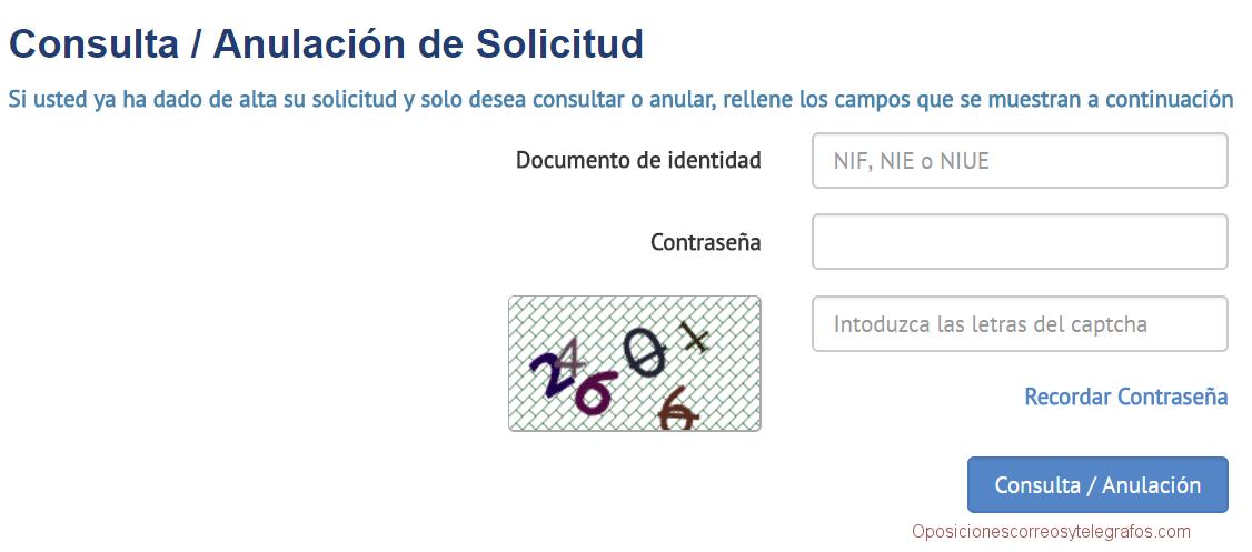 plataforma consulta anulacion solicitud oposiciones correos
