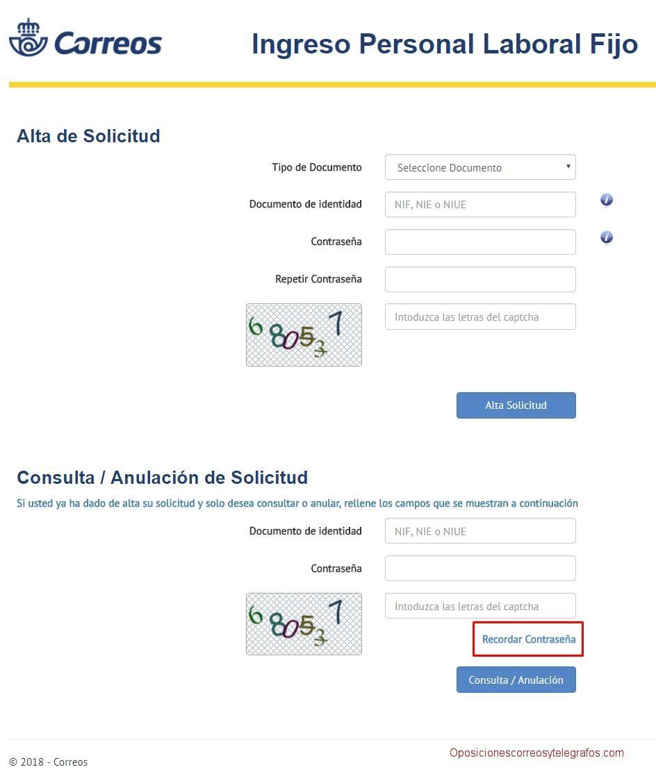 recuperar contraseña plataforma presentacion solicitudes oposiciones correos