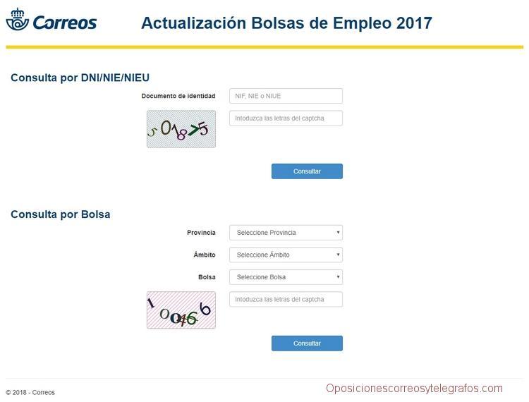 listas definitivas Actualización de la Bolsa de Empleo de Correos 2017