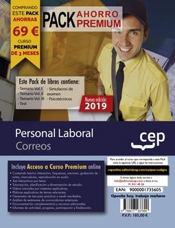 Pack Ahorro Premium de Libros Oposiciones Correos. Personal Laboral + Curso Premium online 2019 de 3 meses